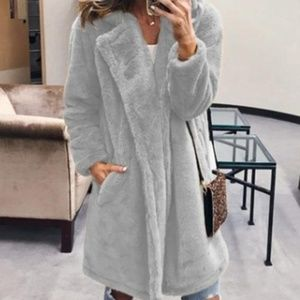 Jackets & Blazers - Open front collared lapel furry trench length coat